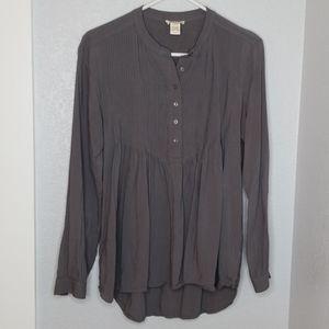 Sundance gray boho flowy henley long sleeve shirt